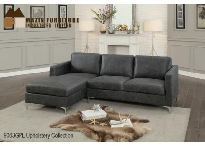 Real Leather Sectional Sofa (Grey)