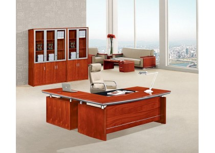 "63""W Cherry Veneer L-Shape Desk"