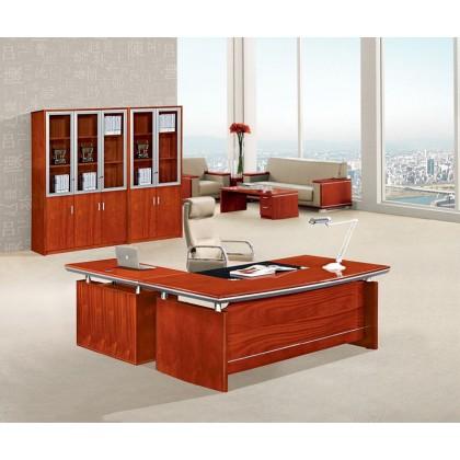 "63""W Cherry Veneer L-Shape Desk"