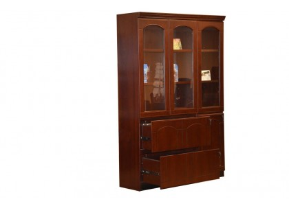 3-Door Wood Veneer Bookcase