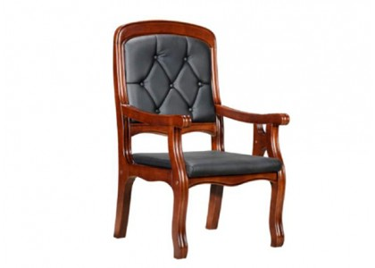 Faux Leather Wood Chair