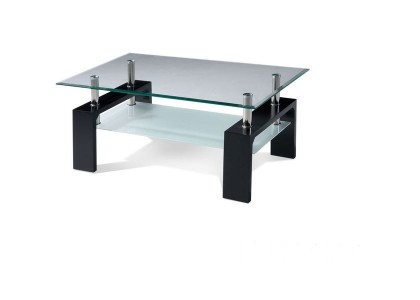 Classic Glass Coffee Table (Dark Brown)