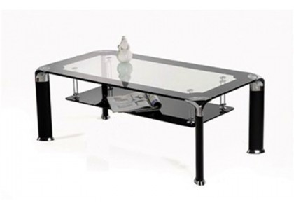 Double Glass Metal Coffee Table (Black)