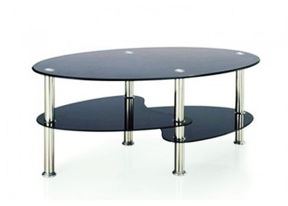 Modern Style Oval Glass Coffee Table