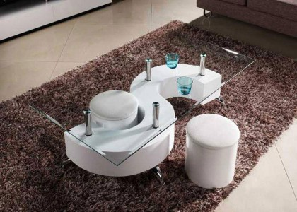 S-shape Coffee Table with stools - White