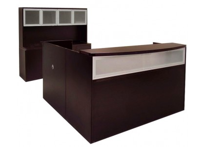 L-Shape Reception Desk (Glass)
