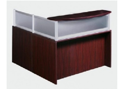 L-Shape Reception Desk with Frosted Glass