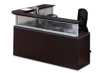 Glass L-Shape Reception Desk