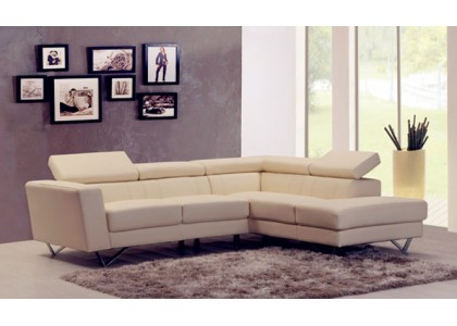 Real Leather Sectional Sofa (White)