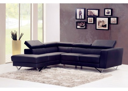 Real Leather Sectional Sofa (Black)