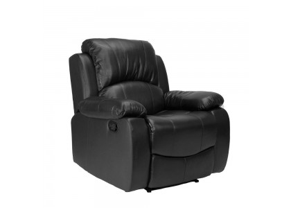 Real Leather Reclining Chair with Rock (Black)
