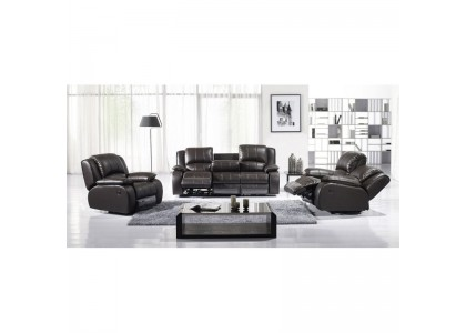 Real Leather Reclining Set (Black)