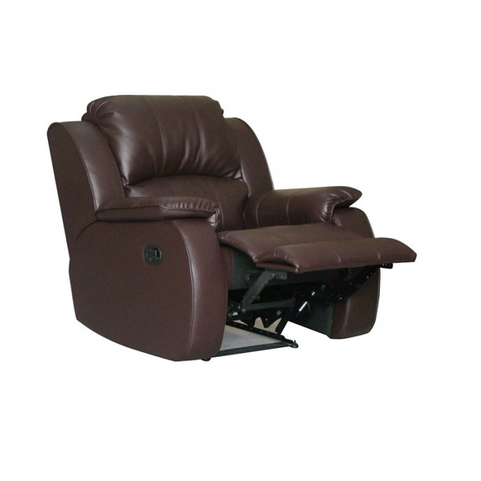 Real Leather Reclining Chair with Rock (Chocolate)
