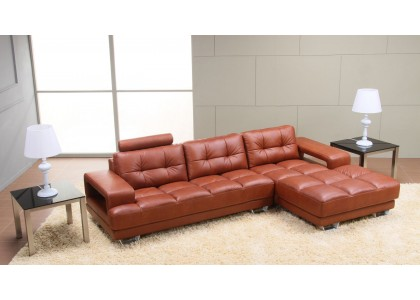 Real Leather Sectional Sofa (Orange Brown)