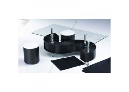 S-shape Coffee Table with Stools-Black