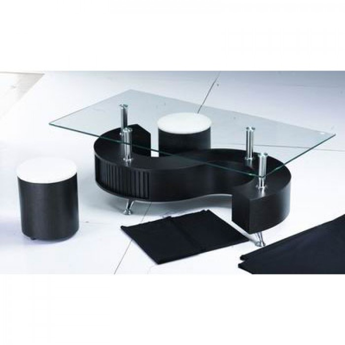 S Shape Coffee Table With Stools Black