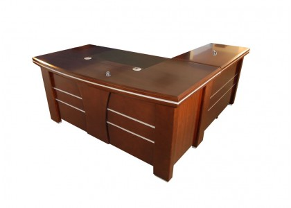 "66""W L-Shape Veneer Desk"