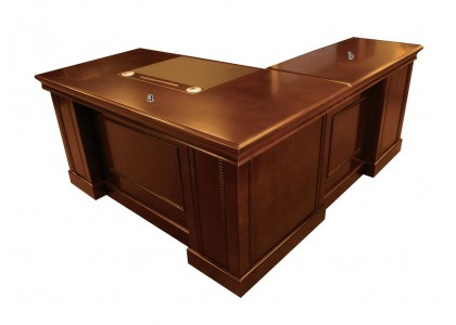 "63""W Rectangular Veneer Executive Desk"
